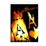 Hot Flaming Poker Aces Postcards (Package of 8)