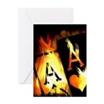 Hot Flaming Poker Aces Greeting Card