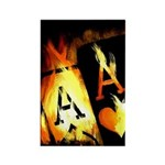 Hot Flaming Poker Aces Rectangle Magnet (100 pack)