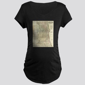 Vintage Map of Chicago (1857) Maternity T-Shirt