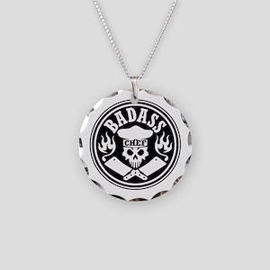 Badass Chef Black Necklace Circle Charm