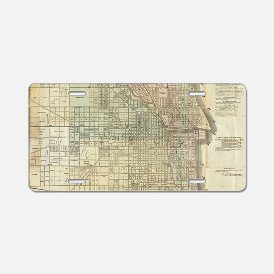 Vintage Map of Chicago (185 Aluminum License Plate
