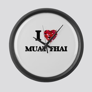 I Love Muay Thai Large Wall Clock