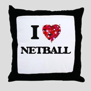 I Love Netball Throw Pillow