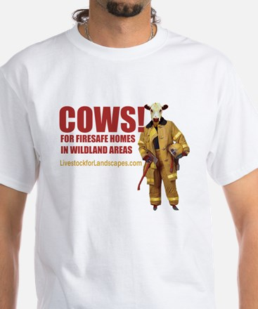 Cow Firefighter White T-Shirt