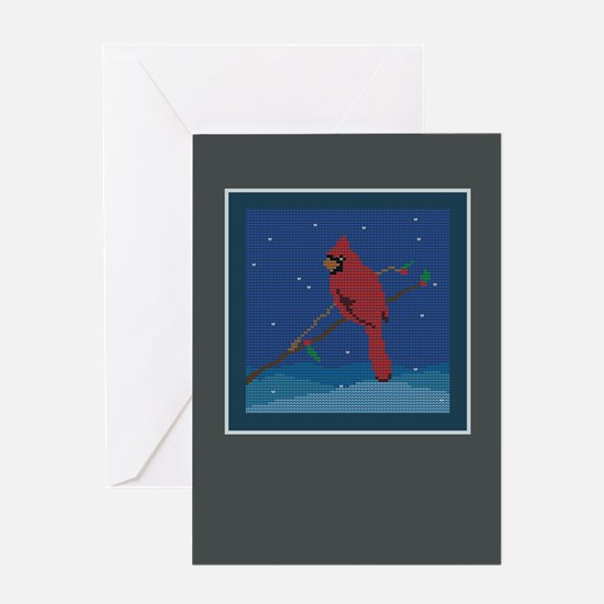 Knit Cardinal Greeting Card