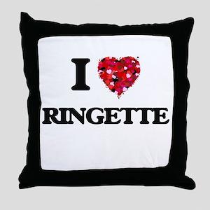 I Love Ringette Throw Pillow