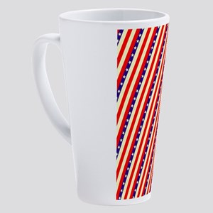 Stars Stripes Wave July 4th BBQ 4G 17 oz Latte Mug