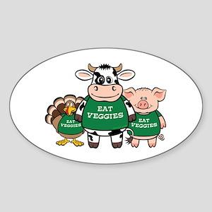 Eat Veggies Oval Sticker