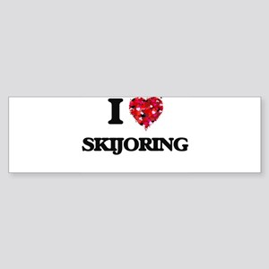 I Love Skijoring Bumper Sticker