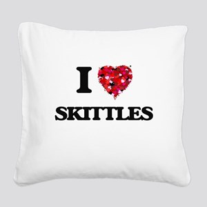 I Love Skittles Square Canvas Pillow