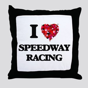 I Love Speedway Racing Throw Pillow