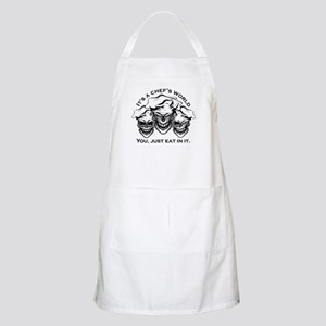 Laughing Chef Skulls: It's a Chef's World bl Apron