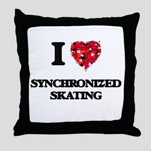 I Love Synchronized Skating Throw Pillow