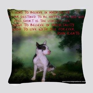 Thru the shadows (w/quote) Woven Throw Pillow