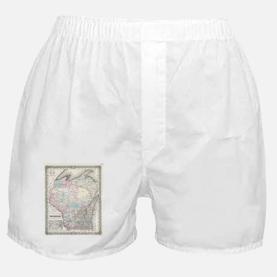 Vintage Map of Wisconsin (1855) Boxer Shorts