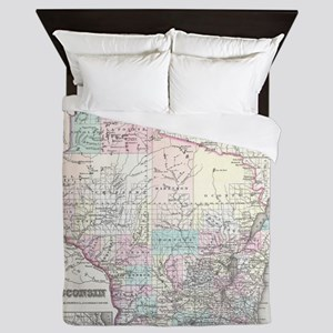 Vintage Map of Wisconsin (1855) Queen Duvet