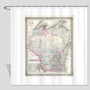 Vintage Map of Wisconsin (1855) Shower Curtain