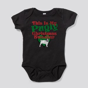 This Is My Pugly Christmas Sweater Baby Bodysuit