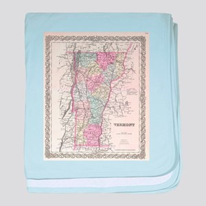 Vintage Map of Vermont (1855) baby blanket