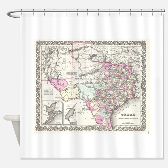 Vintage Map of Texas (1855) Shower Curtain