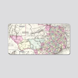 Vintage Map of Texas (1855) Aluminum License Plate