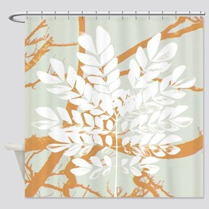 pastel abstract leaf print Shower Curtain
