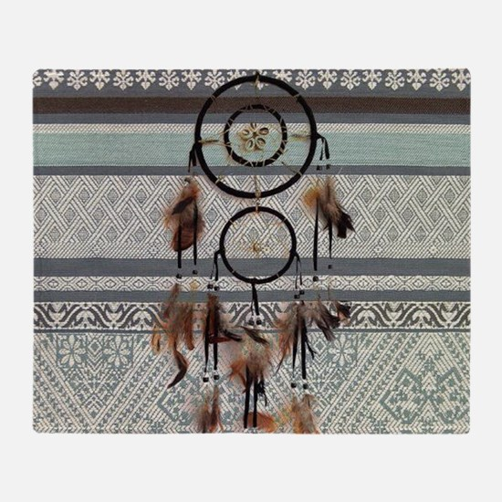 native tribal pattern dream catcher Throw Blanket