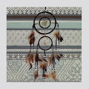 native tribal pattern dream catcher Tile Coaster