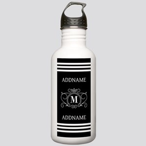 Black and White Monogr Stainless Water Bottle 1.0L