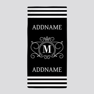 Black and White Monogrammed Beach Towel