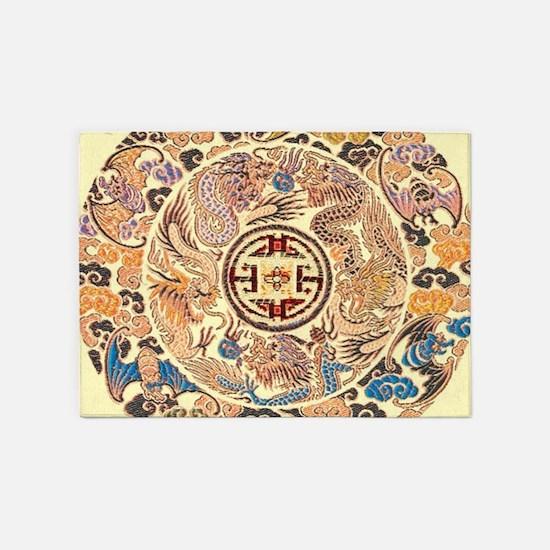 chinese dragon gold kimono 5'x7'Area Rug