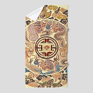 chinese dragon gold kimono Beach Towel