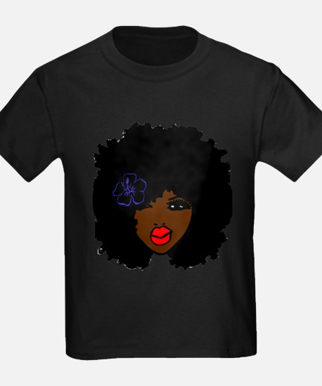 BrownSkin Curly Afro Natural Hair???? Pink T-Shirt