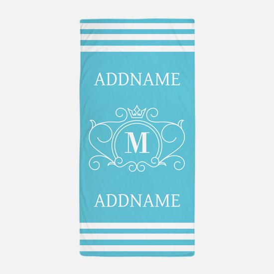 Personalized Name Monogram Beach Towel