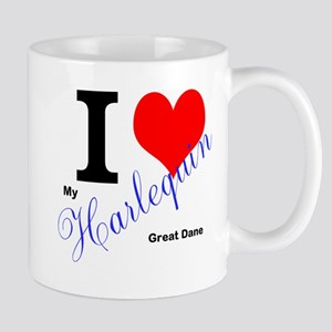 I heart my harlequin Great dane Mugs