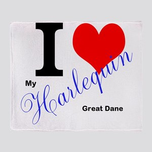 I heart my harlequin Great dane Throw Blanket