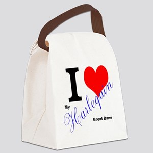 I heart my harlequin Great dane Canvas Lunch Bag