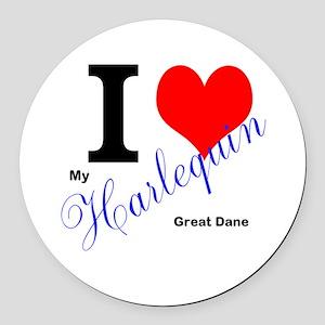 I heart my harlequin Great dane Round Car Magnet