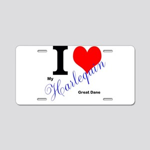 I heart my harlequin Great dane Aluminum License P