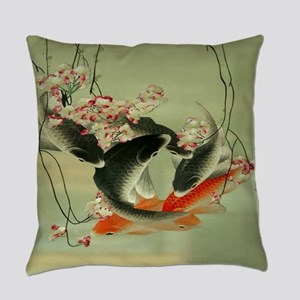zen japanese koi fish Everyday Pillow