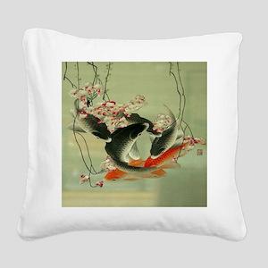 zen japanese koi fish Square Canvas Pillow