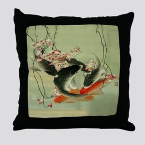 zen japanese koi fish Throw Pillow