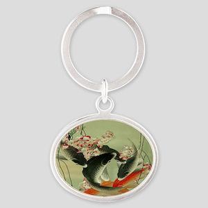 zen japanese koi fish Oval Keychain