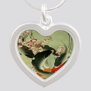 zen japanese koi fish Silver Heart Necklace
