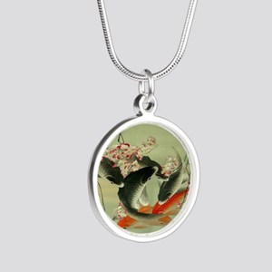 zen japanese koi fish Silver Round Necklace