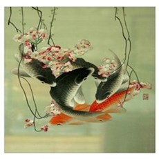 zen japanese koi fish Poster