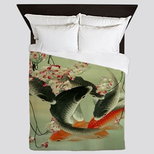zen japanese koi fish Queen Duvet
