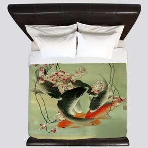 zen japanese koi fish King Duvet