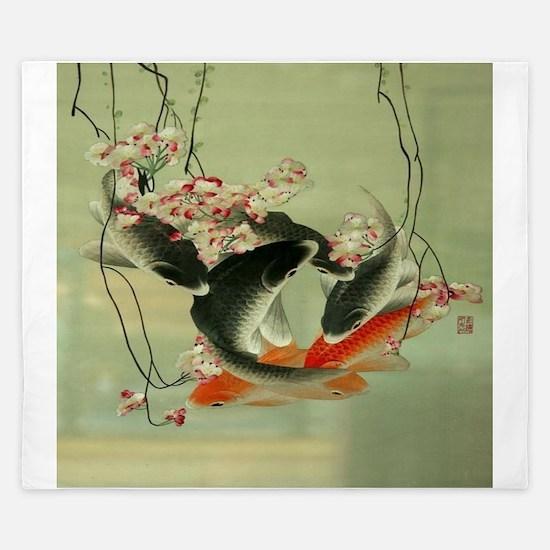 zen japanese koi fish King Duvet